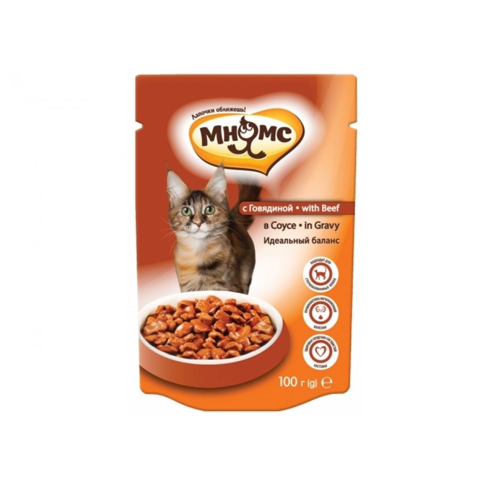Мнямс Паучи для взрослых кошек - С говядиной в соусе, идеальный баланс