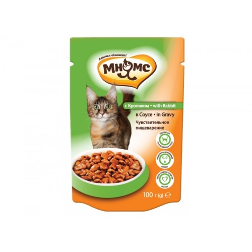 Паучи для взрослых кошек - С кроликом в соусе, чувствительное пищеварение