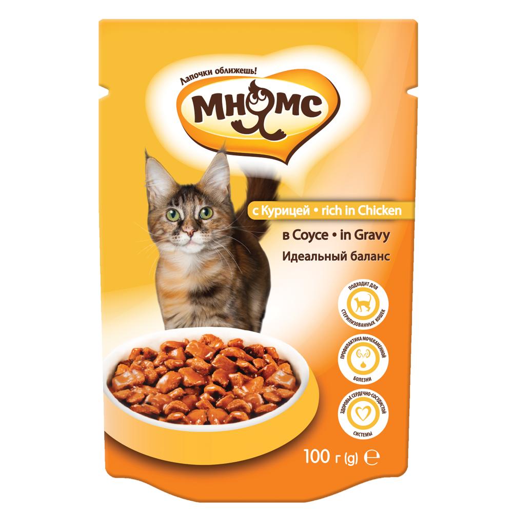 Мнямс Паучи для взрослых кошек - С курицей в соусе, идеальный баланс