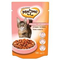 Паучи для взрослых кошек - С лососем в соусе, кожа и шерсть