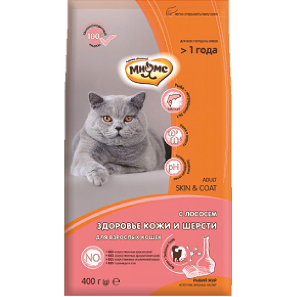 Мнямс Skin&Coat - Сухой корм с лососем для взрослых кошек для кожи и шерсти