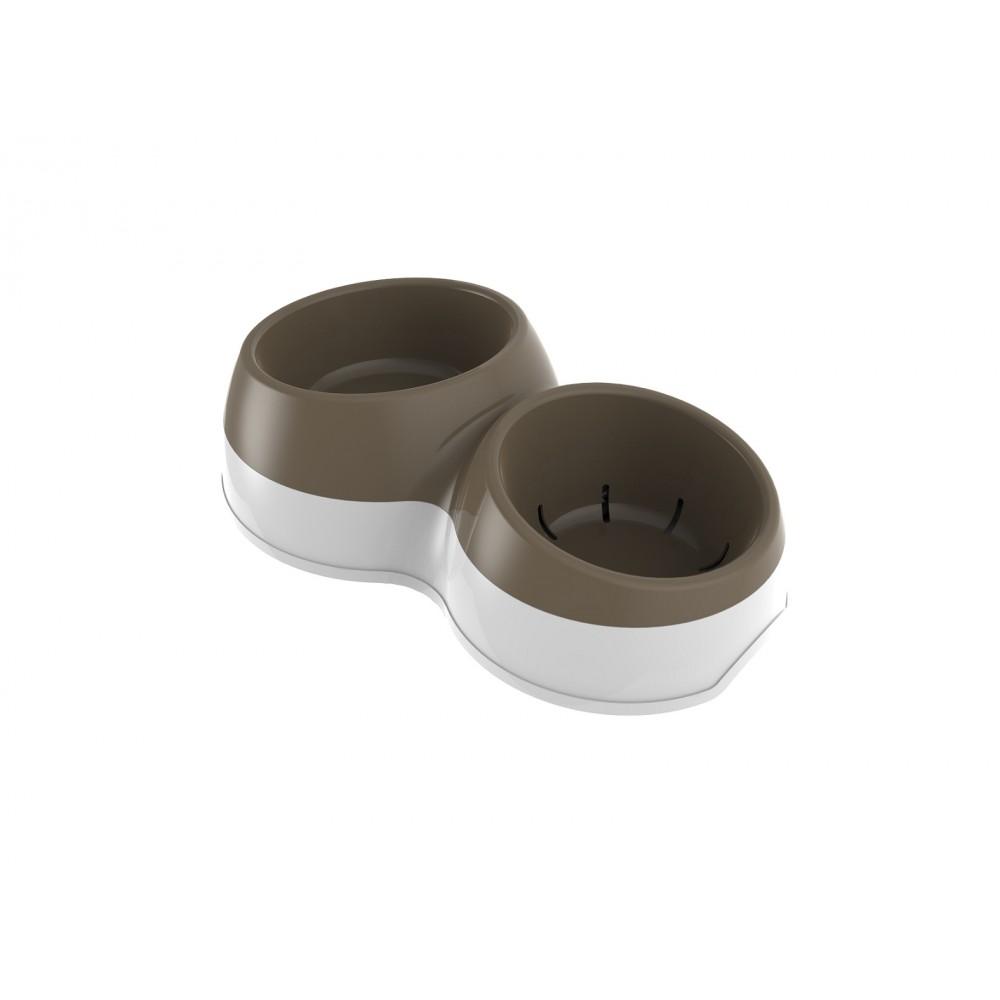 BAMA PET - Миска для собак двойная CIOTOLOTTO M 500-400 мл, коричневая