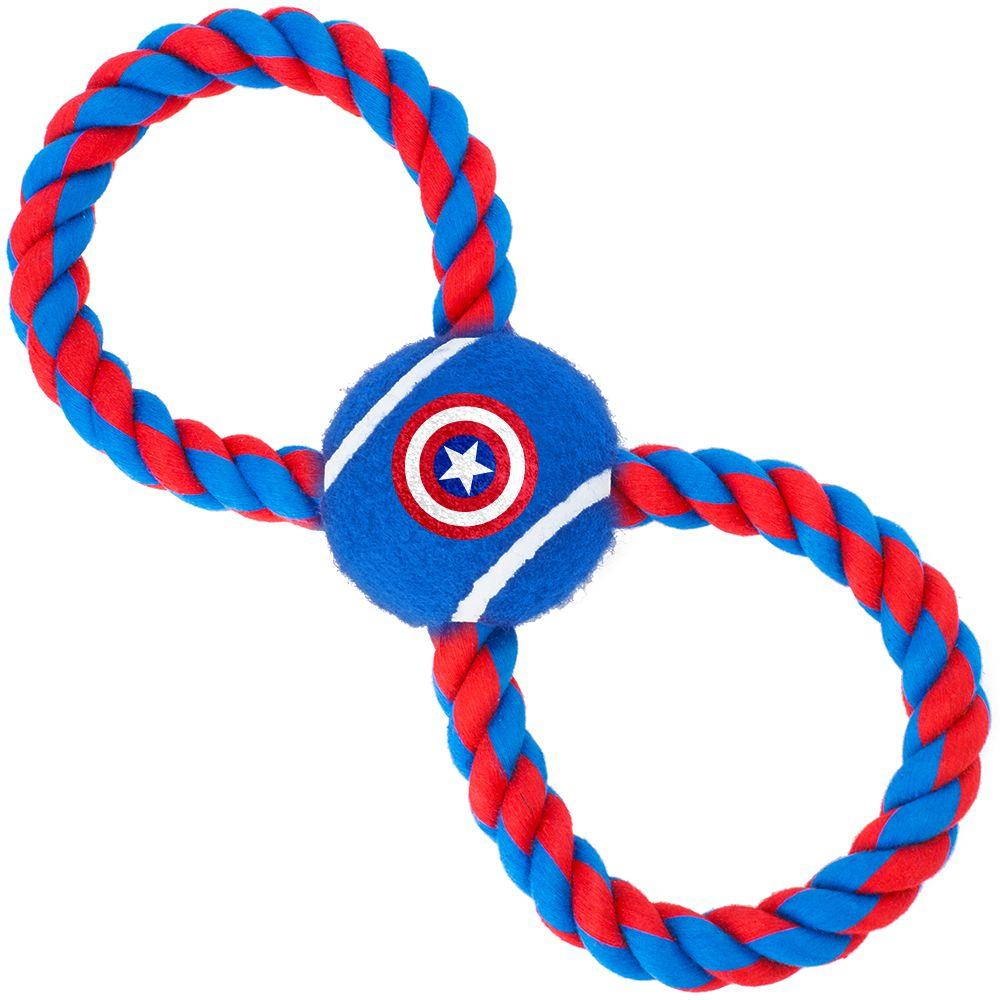 "Buckle-Down Captain America - Игрушка для собак мячик на верёвке ""Капитан Америка"""
