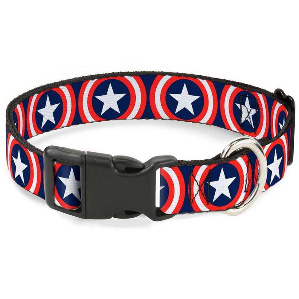 """Buckle-Down Captain America - Ошейник для собак с пластиковой застёжкой """"Капитан Америка"""""""