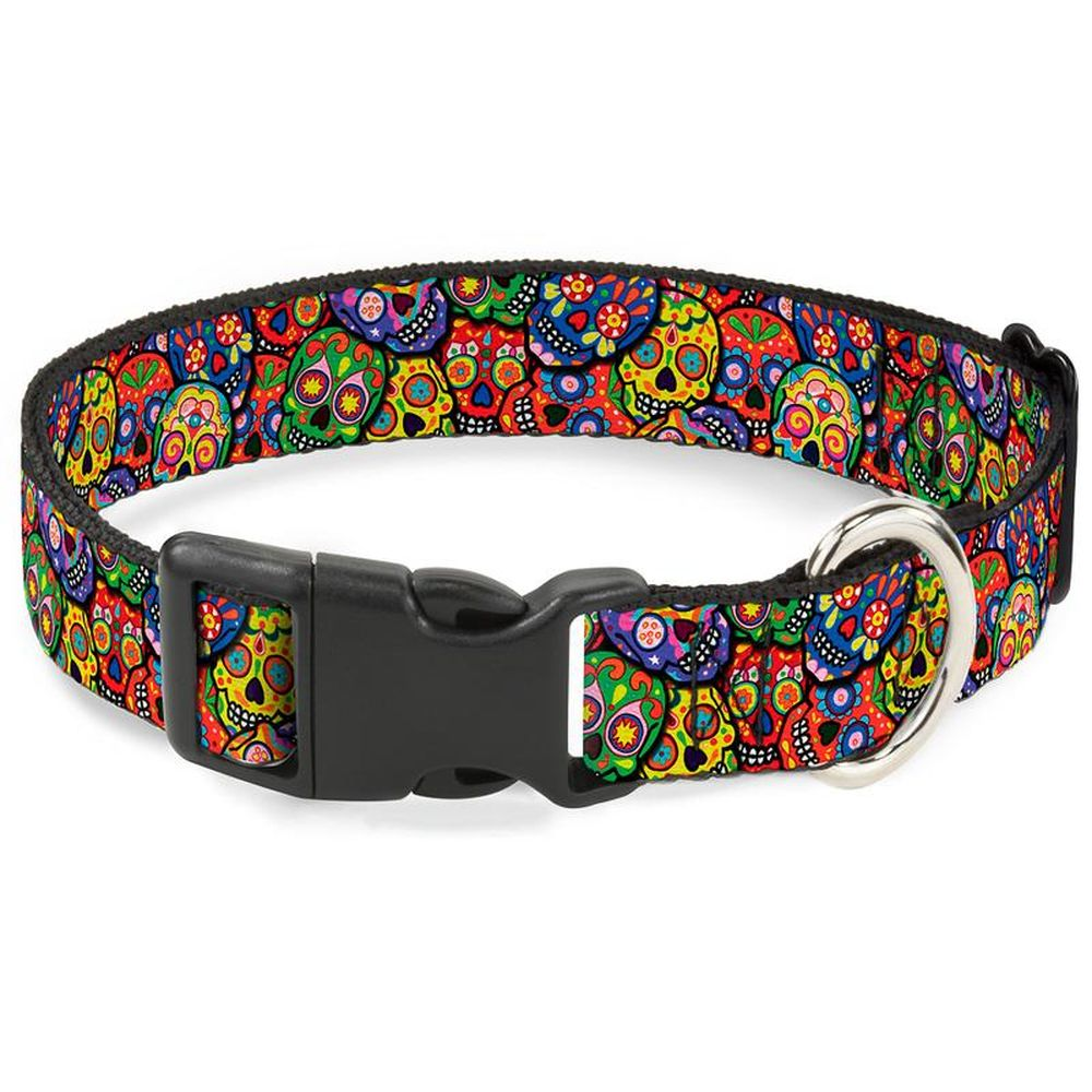 """Buckle-Down Multicolor Sculls - Ошейник для собак с пластиковой застёжкой """"Цветные Черепа"""""""