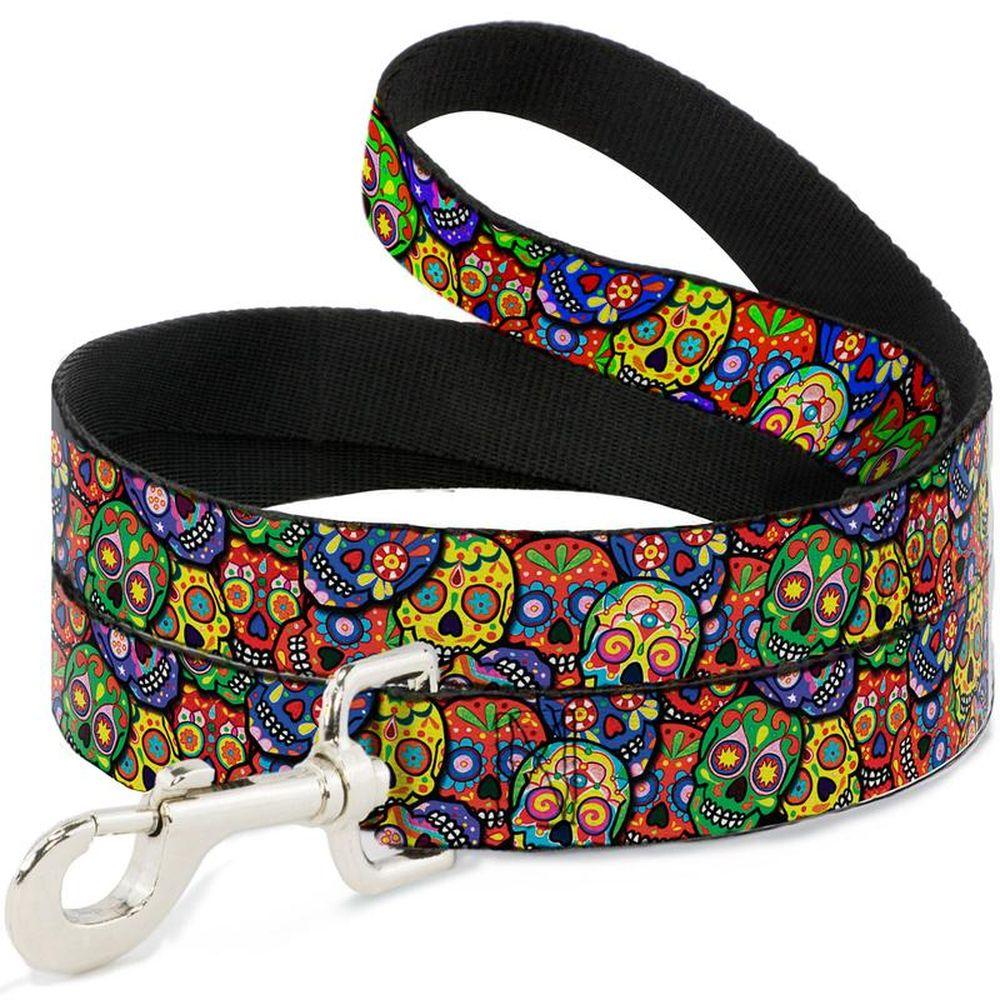 """Buckle-Down Multicolor Sculls - Поводок для собак """"Цветные черепа"""""""