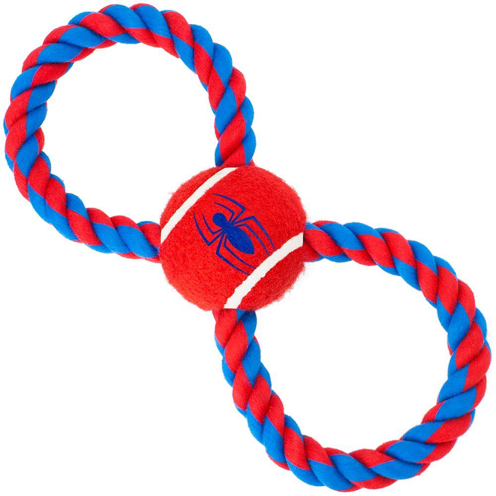 """Buckle-Down Spider-Man - Игрушка для собак мячик на верёвке """"Человек-паук"""""""