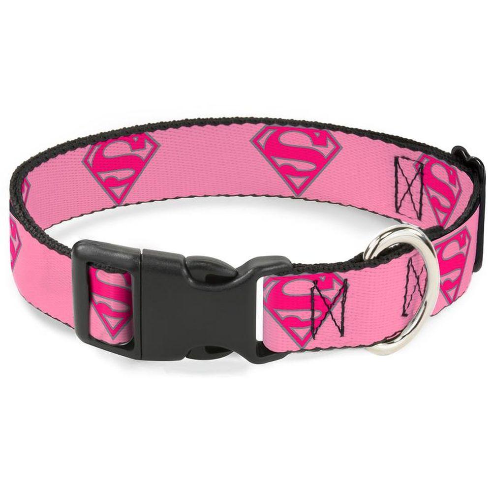 """Buckle-Down Superman - Ошейник для собак с пластиковой застёжкой """"Супермен розовый"""""""