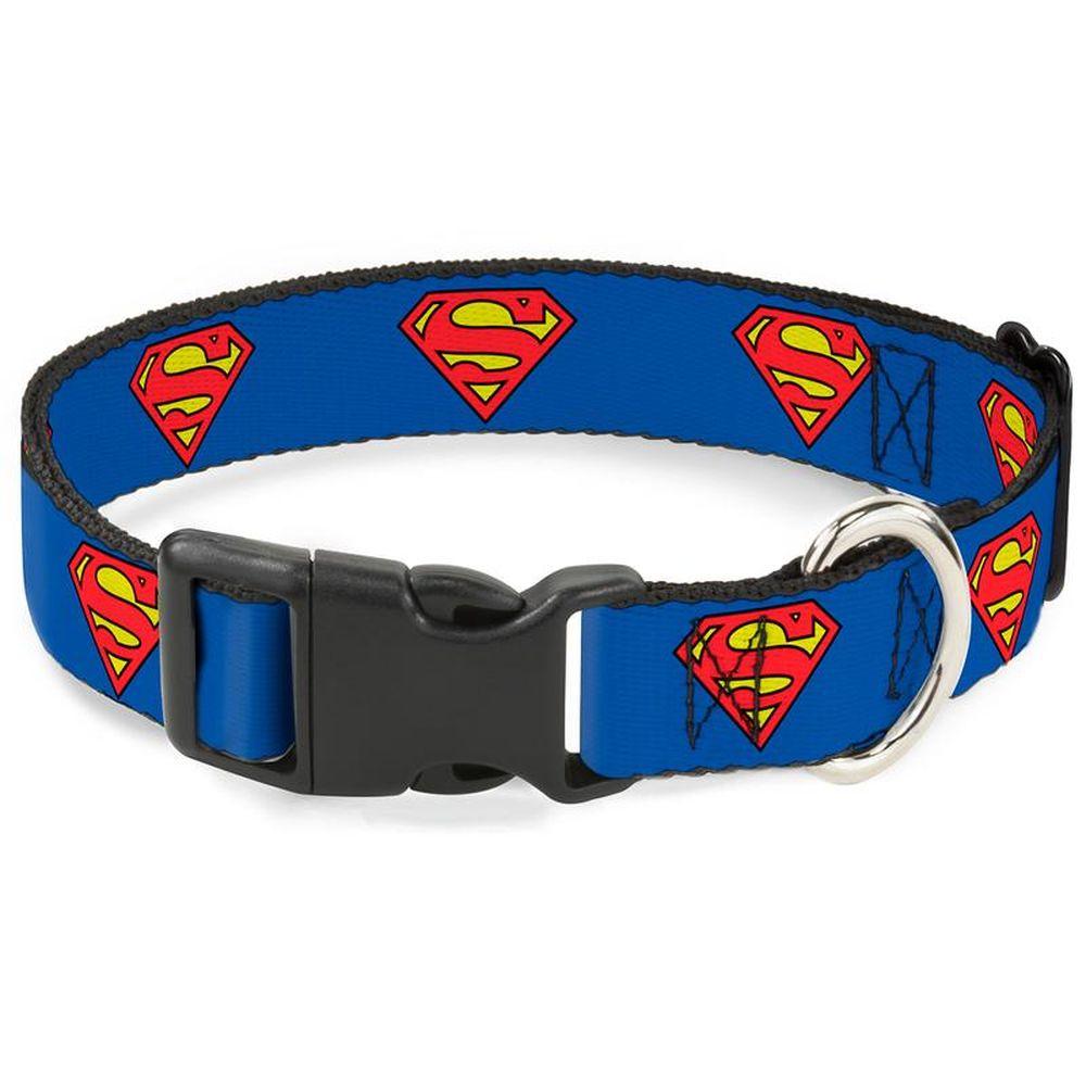 """Buckle-Down Superman - Ошейник для собак с пластиковой застёжкой """"Супермен синий"""""""