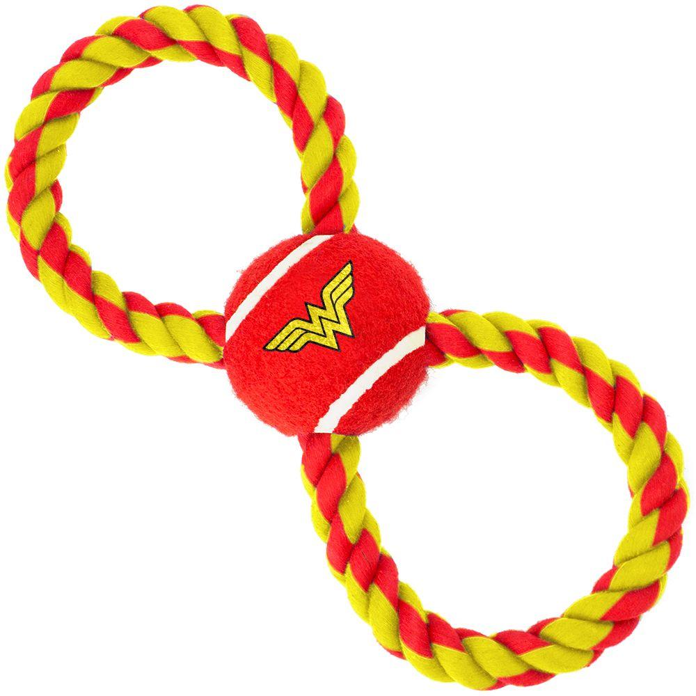 "Buckle-Down Wonder Woman - Игрушка для собак мячик на верёвке ""Чудо-Женщина"""