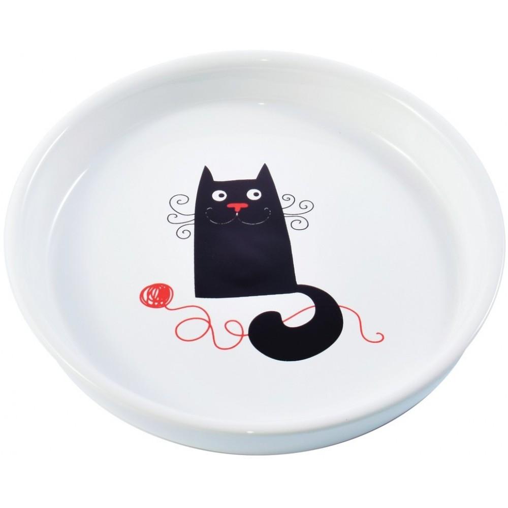КерамикАрт Миска керамическая для кошек, белая с кошкой