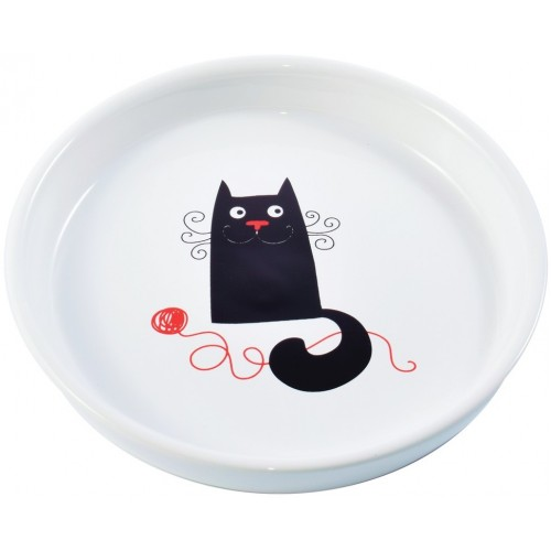 Миска керамическая для кошек, белая с кошкой