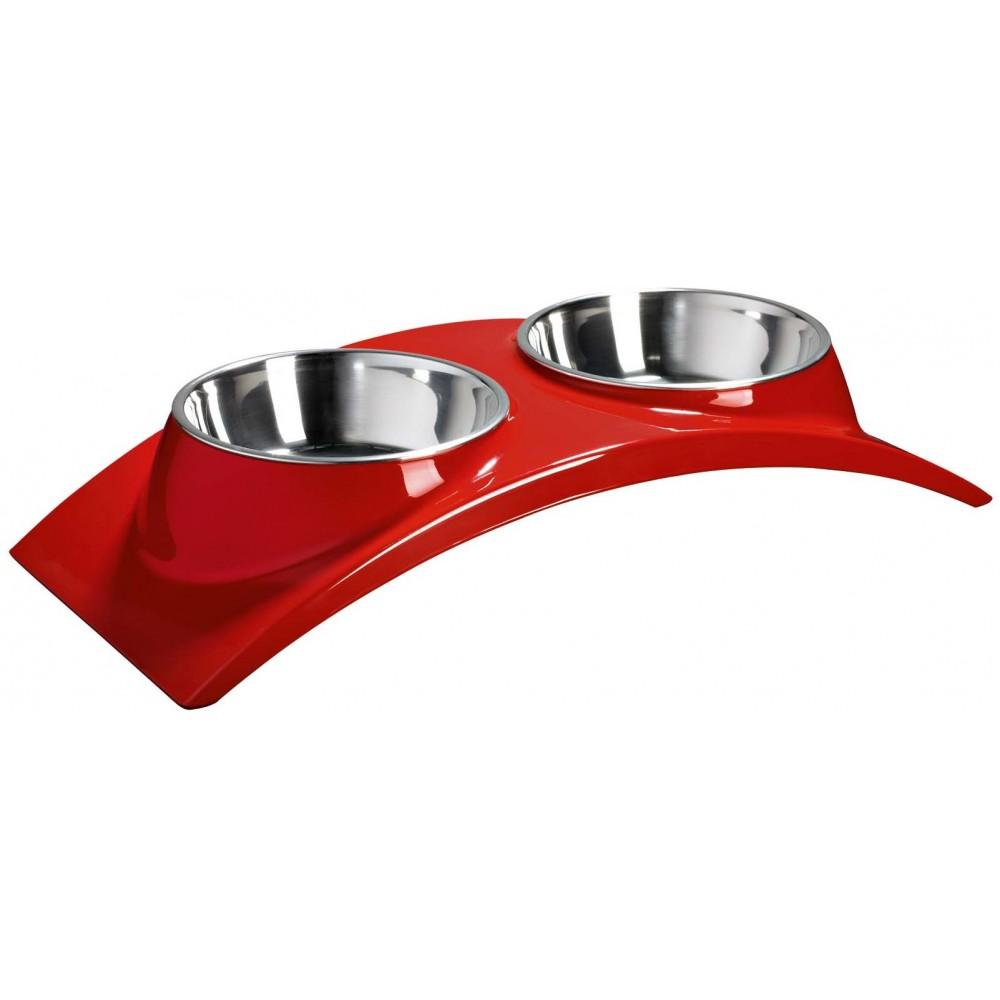 """Superdesign Миска двойная на меламиновой подставке """"Элеганс"""" красная"""