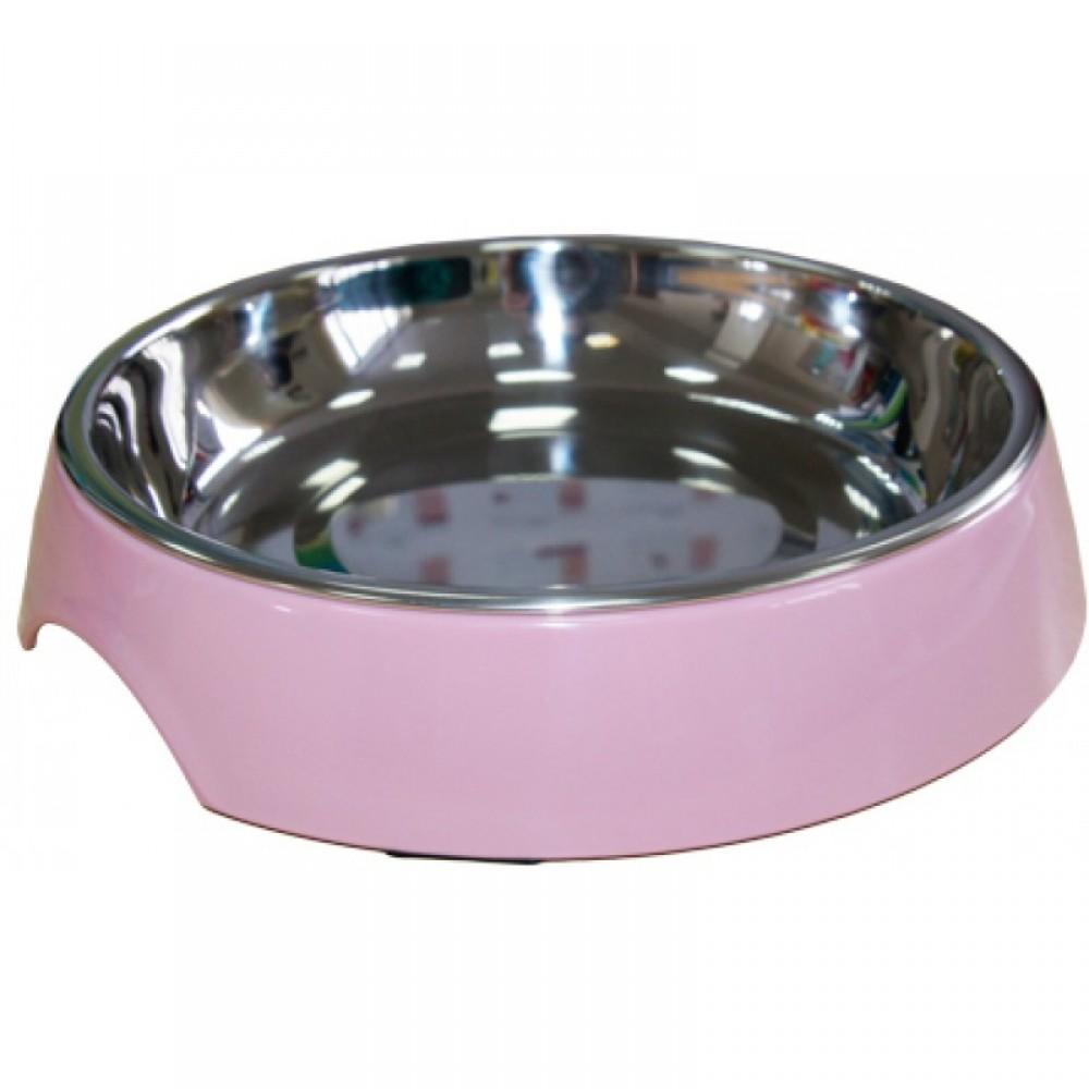"""Superdesign Миска на меламиновой подставке для кошек широкая """"Розовая пудра"""""""