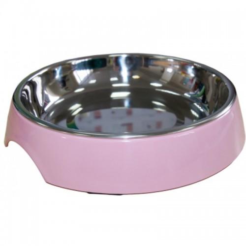 """Миска на меламиновой подставке для кошек широкая """"Розовая пудра"""""""