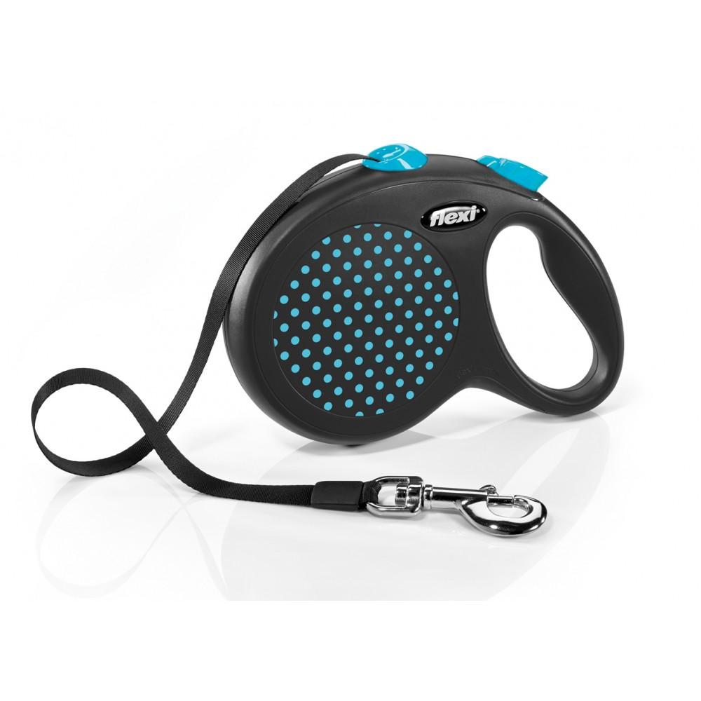 """Flexi Design - """"Флекси Дизайн"""" рулетка лента для собак черная/голубой горох (5 м)"""