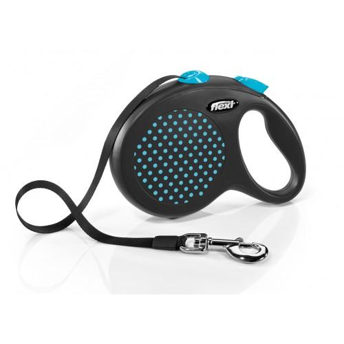 """Design - """"Флекси Дизайн"""" рулетка лента для собак черная/голубой горох (5 м)"""