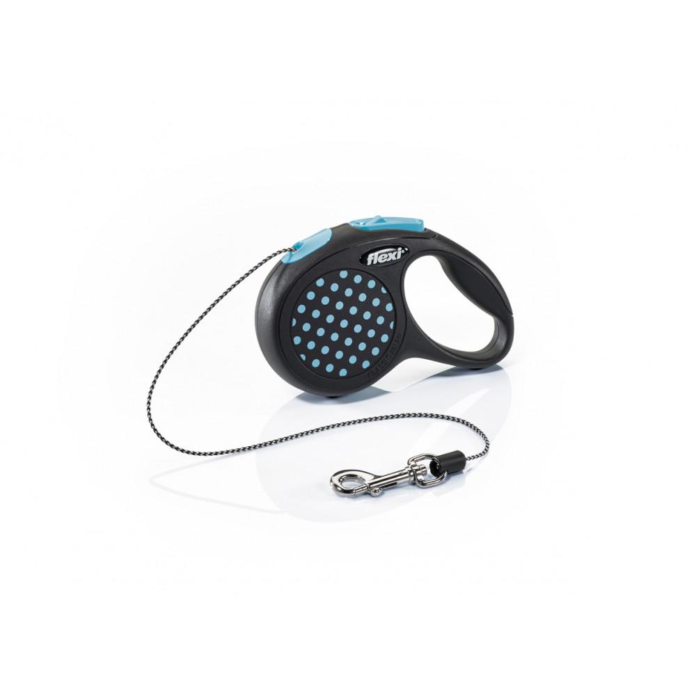 """Flexi Design - """"Флекси Дизайн"""" рулетка трос для собак черная/голубой горох (3 м)"""