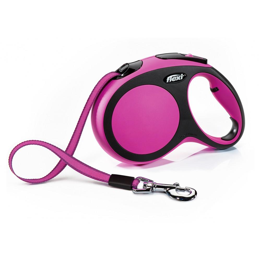 """Flexi New Comfort - """"Флекси Комфорт"""" рулетка лента для собак, черный/розовый (5 м)"""