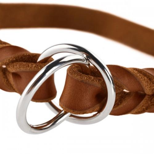 Solid Education - Ошейник-удавка для собак из натуральной кожи, коньячный