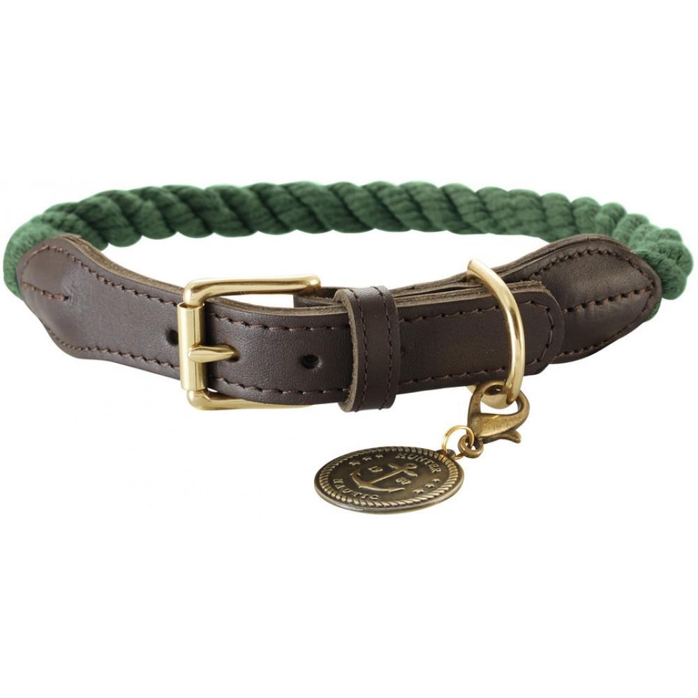 Hunter List - Ошейник для собак оливковый/шоколадный, текстиль и кожа