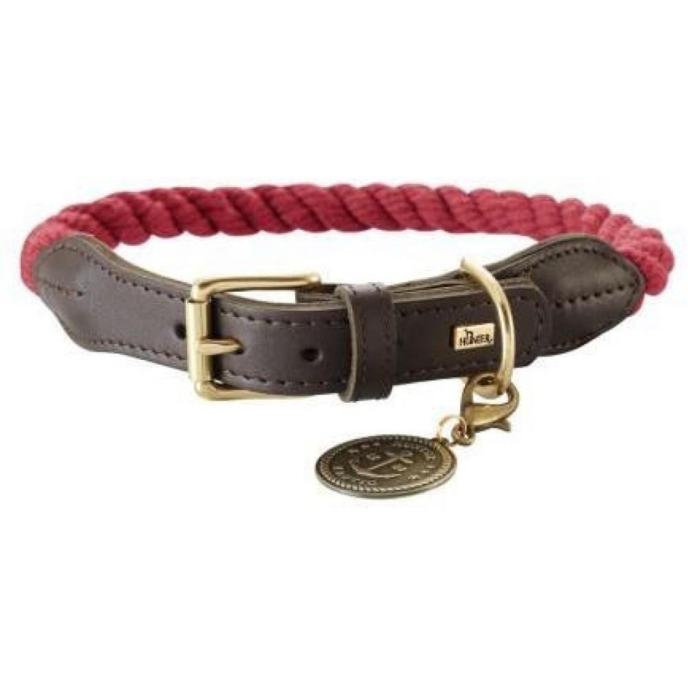 Hunter List - Ошейник для собак бордовый/шоколадный, текстиль и кожа