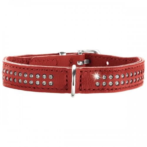Diamond petit - Ошейник для собак из натуральной кожи, 2 ряда страз, красный