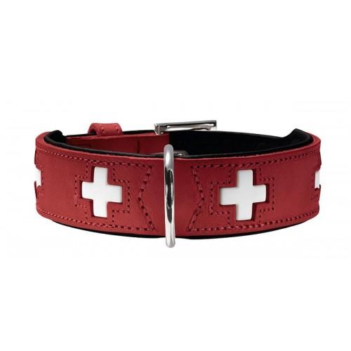 Swiss - Ошейник для собак из натуральной кожи, красный/черный