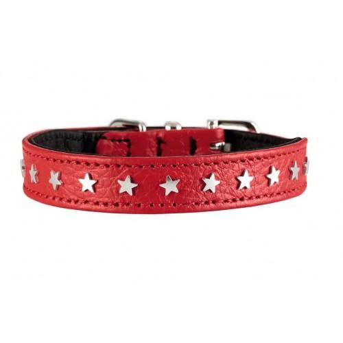 """Capri Mini - Ошейник для собак """"Звезды"""" из натуральной кожи, красный"""