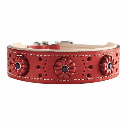 Hunter ошейник для собак Virginia Rose 55/3,9 (41-49 см) кожа,красный/ бежевый