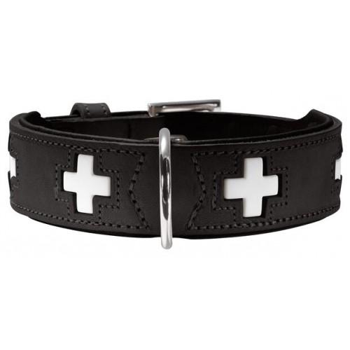 Swiss - Ошейник для собак из натуральной кожи, черный