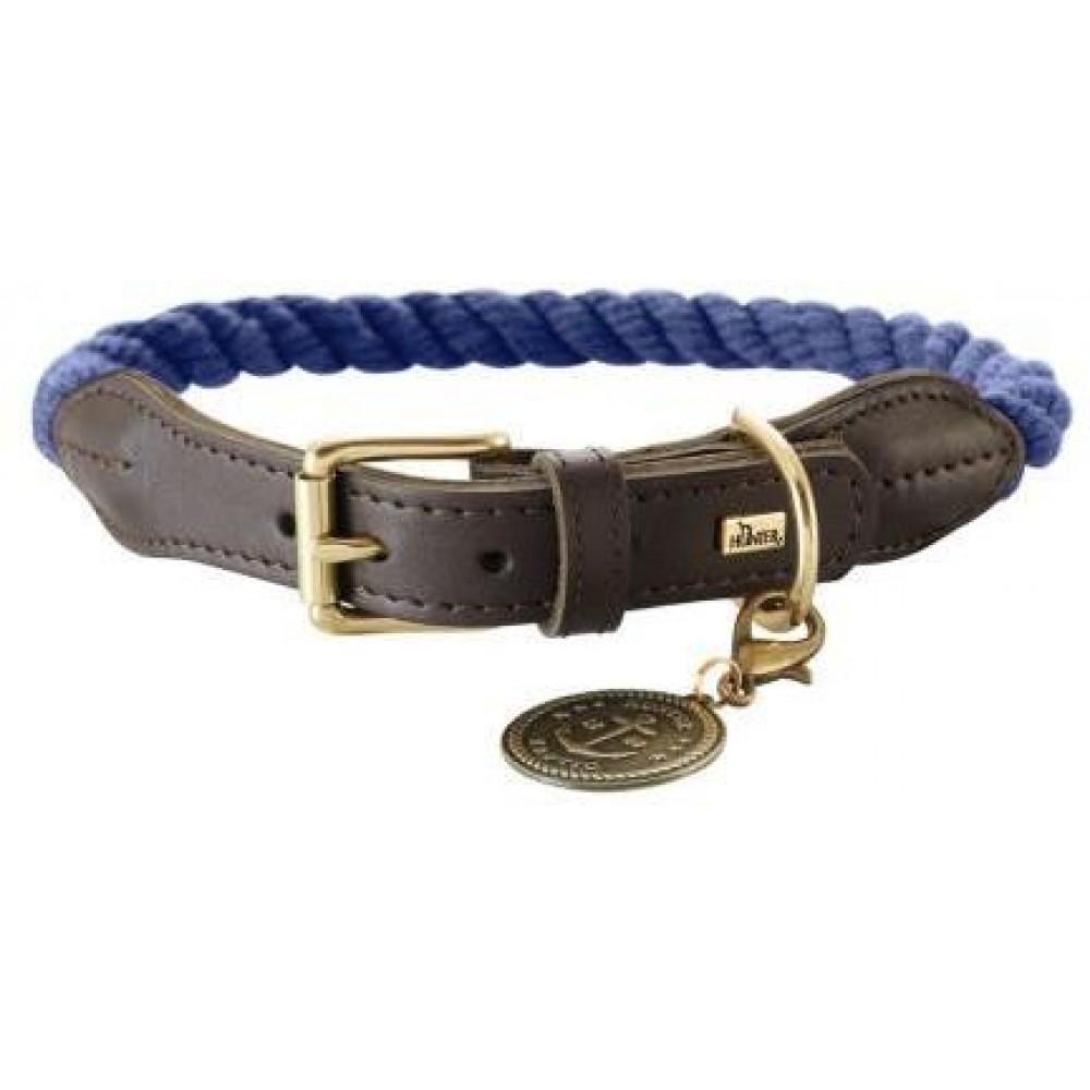 Hunter List - Ошейник для собак темно-синий/шоколадный, текстиль и кожа