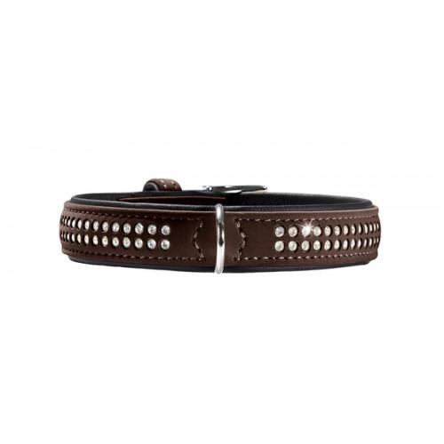 Softy Deluxe - Ошейник для собак кожзам, 2 ряда страз, коричнево-черный
