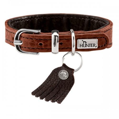 Cody - Ошейник для собак из кожи бизона, коньячный/темно-коричневый