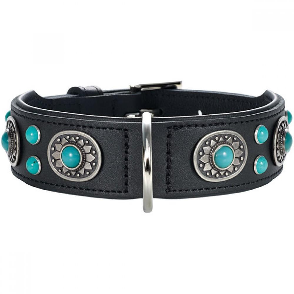 Hunter Sioux - Ошейник для собак из натуральной кожи, черный, фурнитура с имитацией бирюзы