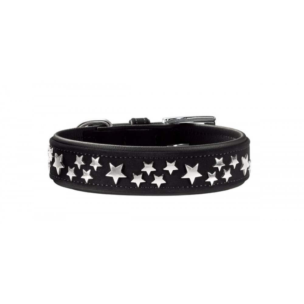 Hunter Softie Stars - Ошейник для собак кожзам, черный