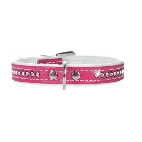 Smart Modern Art Luxus - Ошейник для собак кожзам 1 ряд страз ярко-розовый
