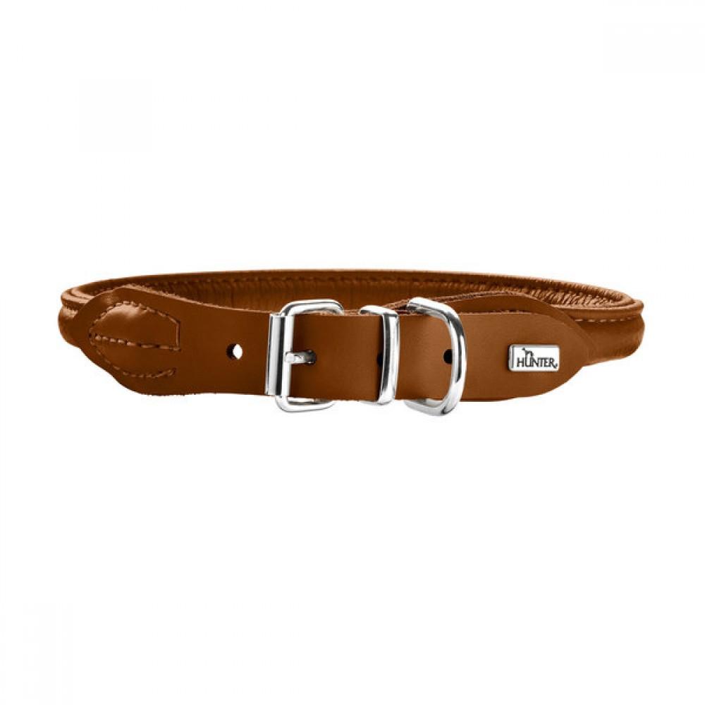 Hunter Round&Soft Elk - Ошейник для собак из кожи лося, коньячный