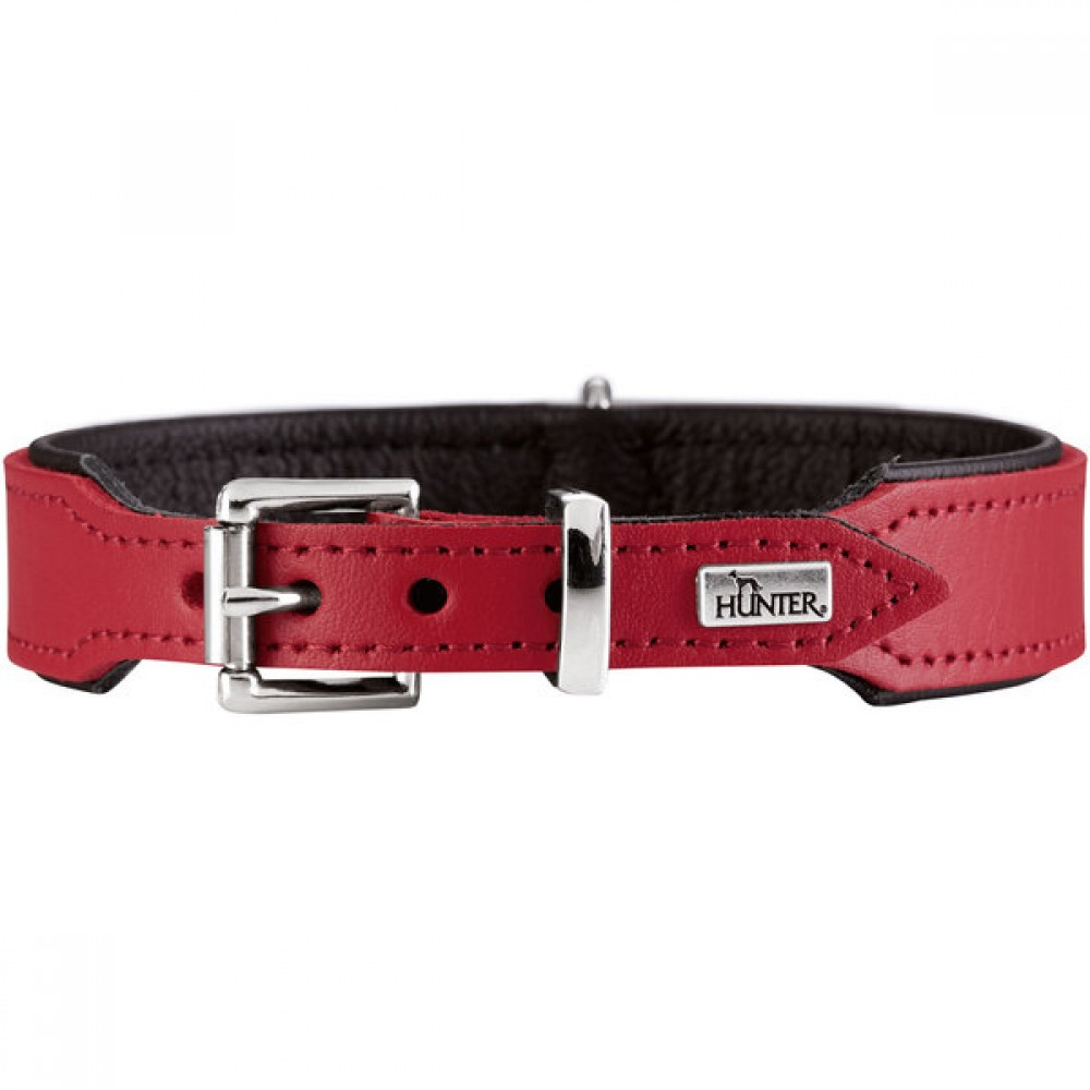 Hunter Basic - Ошейник для собак из натуральной кожи, красный/черный