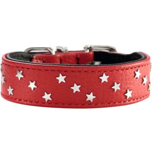 """Capri Mini - Ошейник для собак """"Звезды"""" из натуральной кожи, красно-черный"""