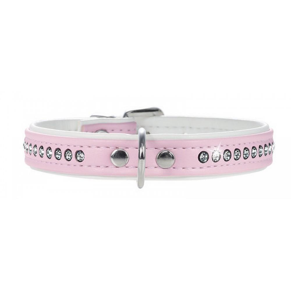 Hunter Smart Modern Luxus - Ошейник для собак кожзам 1 ряд страз розовый