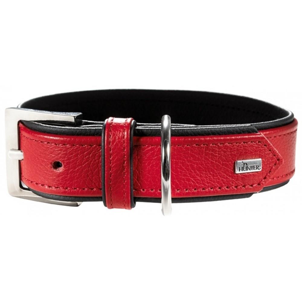Hunter Capri - Ошейник для собак из натуральной кожи, красный/черный