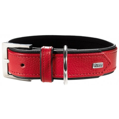 Capri - Ошейник для собак из натуральной кожи, красный/черный