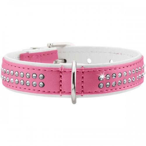 Modern Deluxe - Ошейник для собак розовый кожзам, 2 ряда страз