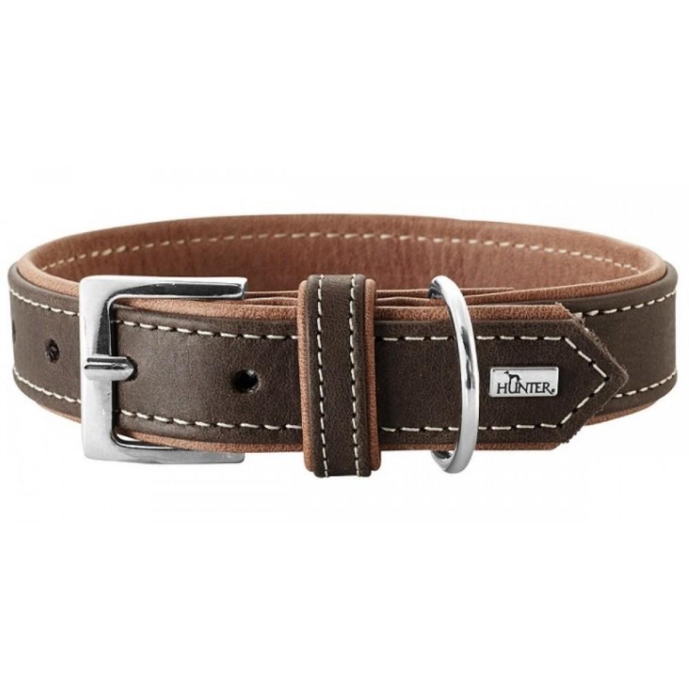 Hunter Porto - Ошейник для собак из натуральной кожи, коньячный/темно-коричневый