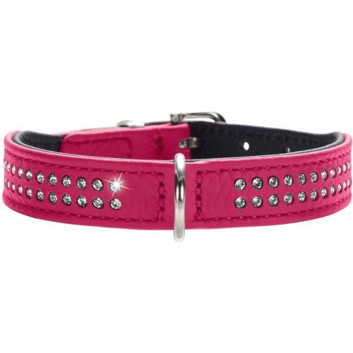 Diamond petit - Ошейник для собак из натуральной кожи, 2 ряда страз, розовый