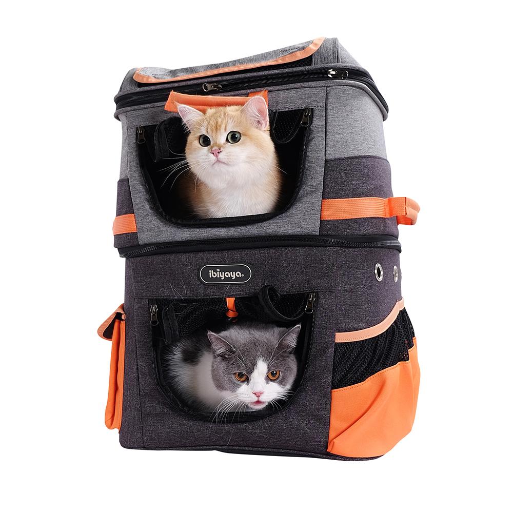Ibiyaya Two-tier - Рюкзак-переноска для собак и кошек серо-оранжевая