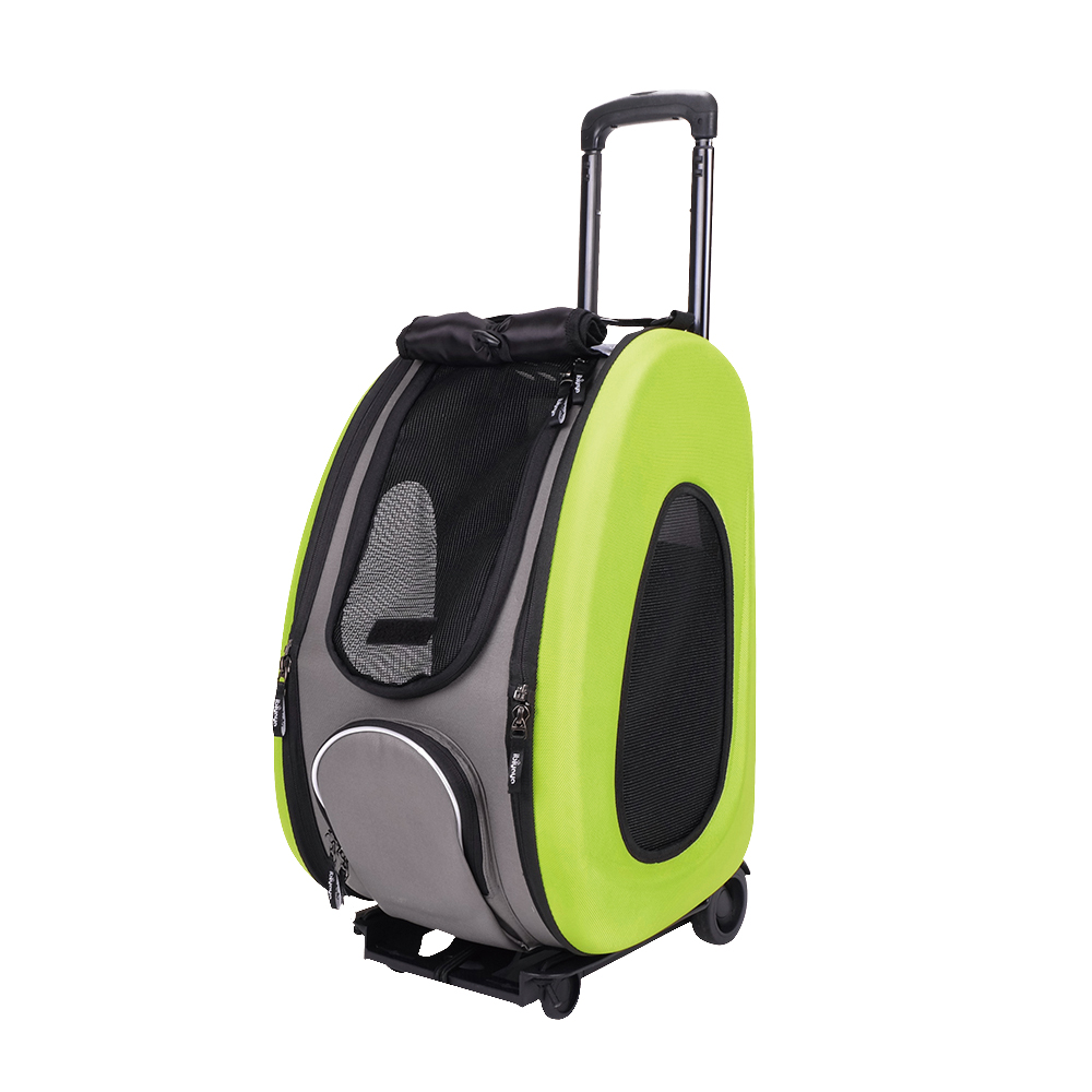 Ibiyaya EVA - Складная сумка-тележка 3 в 1 для собак лайм (сумка, рюкзак, тележка)