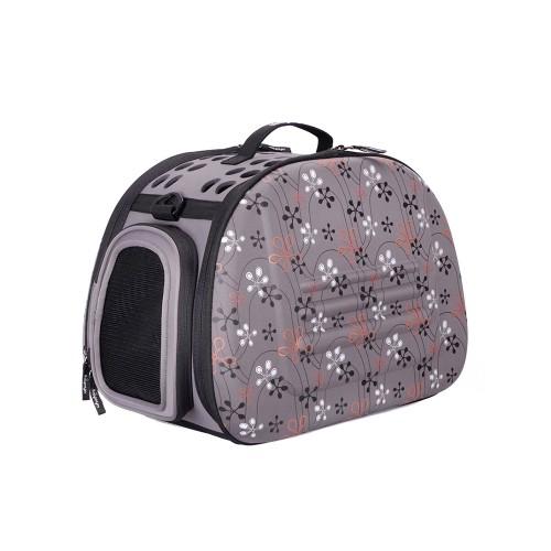 Classic - Складная сумка-переноска для собак и кошек серая в цветочек