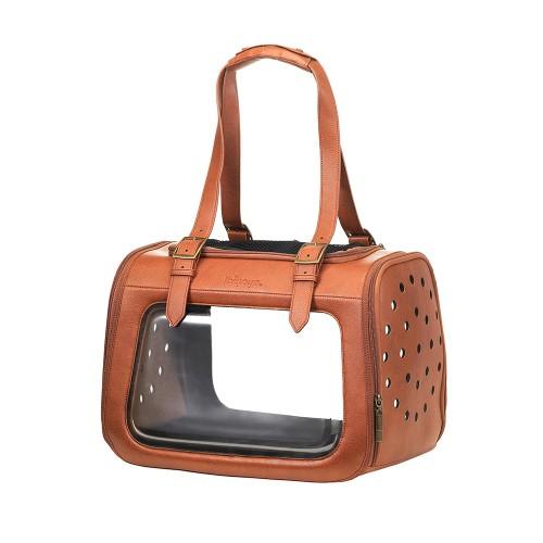 Portico Deluxe Leather - Складная сумка-переноска для собак и кошек прозрачная/коричневая кожа